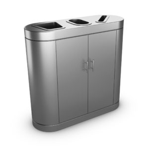 COPENHAGEN Triple-Sort Stainless Steel Recycling Bin - Front doors