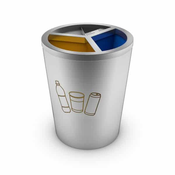 GENEVE Stainless Steel Recycling Bin with 3 Compartments and Ashtray - Plastics
