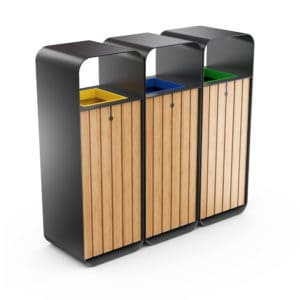 HANKO M Triple-Sort Modular Recycling Bin for Outdoor - Optional Ashtray