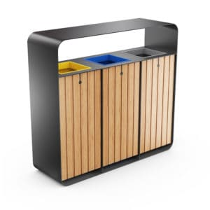 HANKO Outdoor Waste Recycling Bin with 3 Removable Compartments