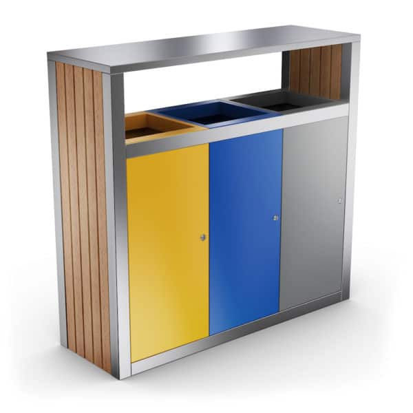 KUOKIO Outdoor Waste Recycling Bin with 3 Compartments - front doors with lock