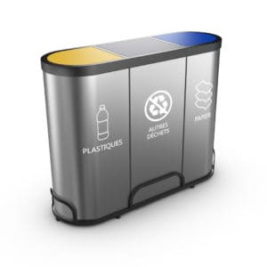 MALMO Stainless Steel Waste Trio Recycling Bin - Swinging lids