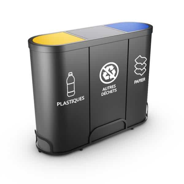 MALMO Waste Recycling Bin with 3 Containers - Self closing lids