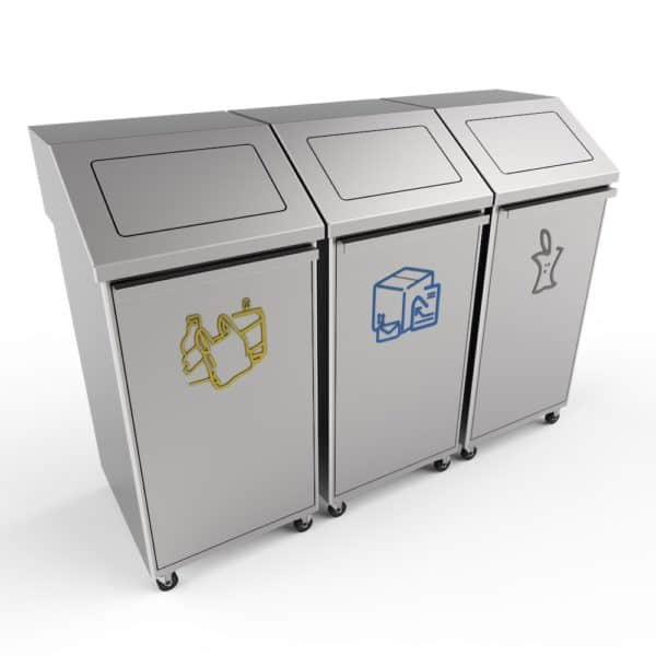 PORI Recycling Bin with Front Opening, Wheels and Swing Lids - Stainless Steel