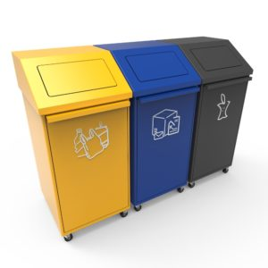 PORI Recycling Bin with Front Door, Wheels and Push Lids, Modular