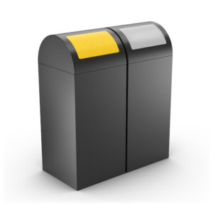 CALIFORNIA Dual-Sort Design Recycling Bin, self closing lids