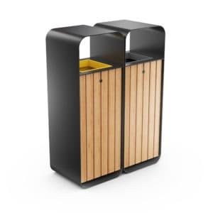HANKO M Double Sort Modular Recycling Bin for Outdoor - Optional Ashtray